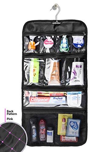 Hanging Toiletry Bag, Comfortra Hanging Travel Organizer For Men and Women, Cosmetic Storage Kit - Black/Pink