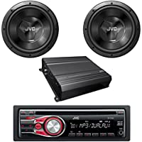 JVC KD-R330 In-Dash CD-R/MP3/WMA Receiver Detachable Face Dual Aux Inputs 2 x CS-W120 1000W 12-Inch 4 ohm Car Subwoofer W/ JVC KS-AX201 Mono Class-AB Car Audio Amplifier - JVC Car Audio Stereo Package