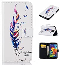 Galaxy S5 Case,XYX [Blue feather] - [Relief Leather][Kickstand][Wallet][Card Slot][Flip][Slim Fit] Premium Protective Case for Samsung Galaxy S 5 SV / S5 Neo