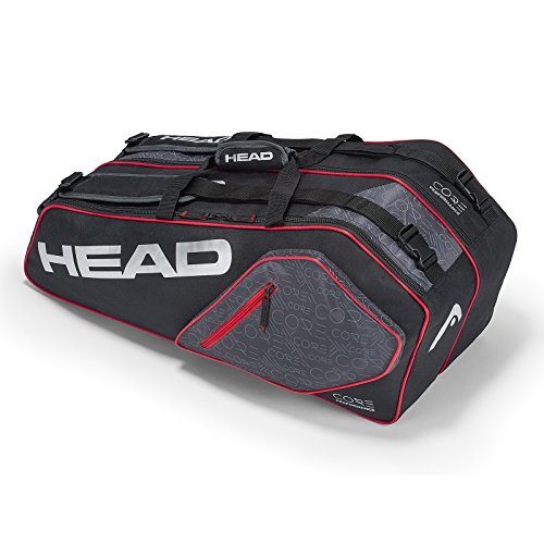 - HEAD Core Combi 6 Racquet Bag (Black/Silver)