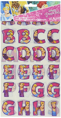 Wrights 1932065001 Disney Princess Iron-On Alphabet Transfer Sheets