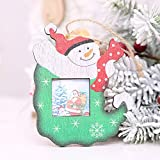 TAOtTAO Christmas Photo Frame Pendants Tree Wooden Ornaments Holiday Hanging Decor Gift (B 12x9.5cm)