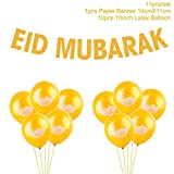 Desirca Balloons Gold Glitter Banner Muslim Ramadan Decoration Eid Festival Bunting Garland Supplie Eid Moon Balloon
