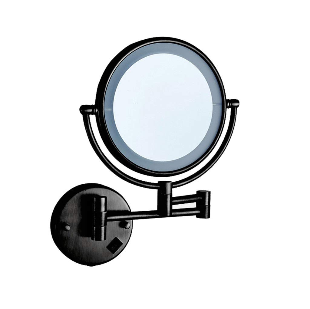 LED Makeup Mirror Double-Sided Wall Mounted Bathroom Mirror Vanity Makeup and Shaving Mirror | 8 inch 3X Magnification | 360° Rotating Adjustable Extendable (Black)
