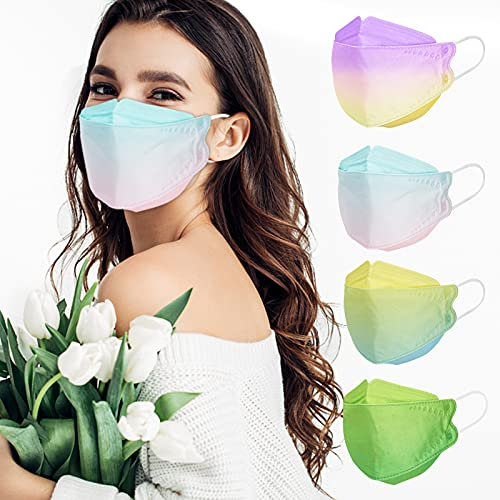 KF94 Mask for Women Men, 20 Packs Assorted Color Masks Individually Wrapped, Disposable Colorful Printed Mask Comfortable Fit for Adult, 4-Ply Breathable Mask with Adjustable Ear Loops