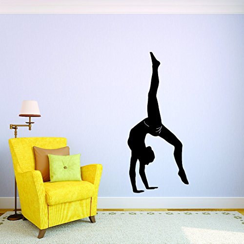 Design with Vinyl JER 291 3 Gymnastics Girl Flipping Tumbling Silhouette Picture Art Vinyl Wall Decal Sticker, 20