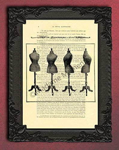 French dress form artwork, antique mannequin sewing forms poster