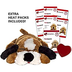 Smart Pet Love Brown and White Snuggle Puppy Heartbeat Pillow for Dogs PLUS 7 Heat Packs
