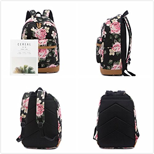 Sqoto School Backpack, Teen Girls Canvas College Bookbag with Lunch Bag Pencil Case Laptop Bag Travel Daypack by Sqoto (Image #5)