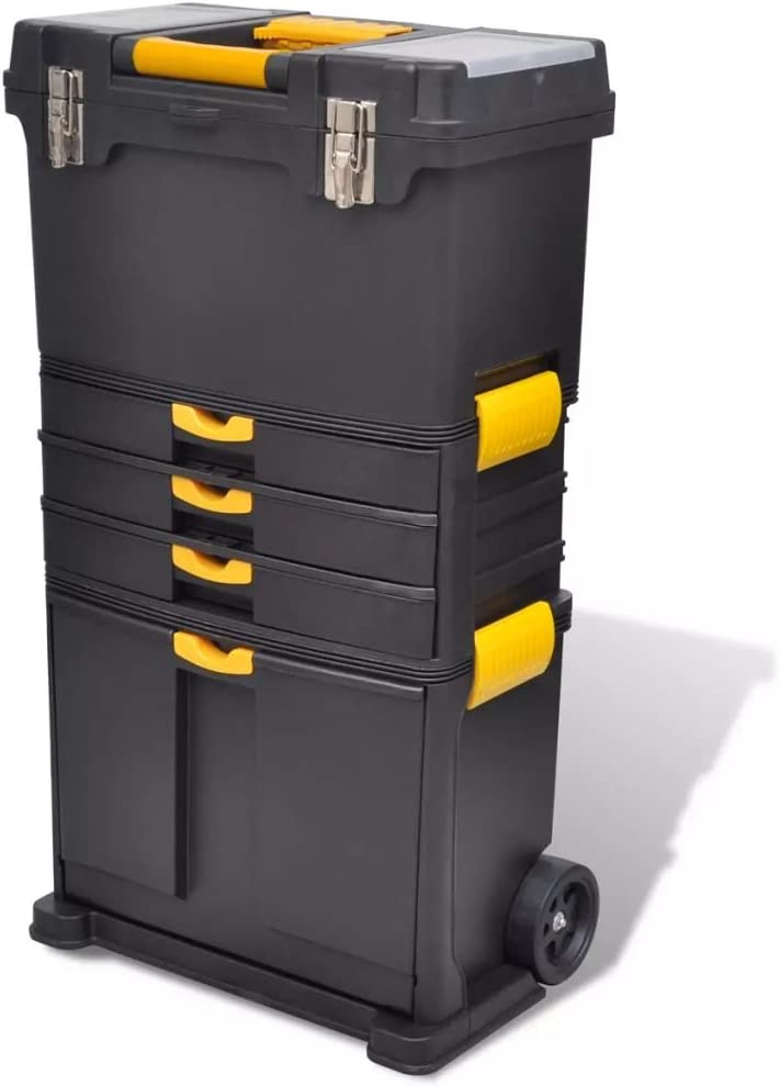 yorten Bo/îte /à Outils Portable Trolley /à Outils Servante Coffre /à Outils avec 2 roulettes 46 x 28 x 82 cm Noir et Jaune