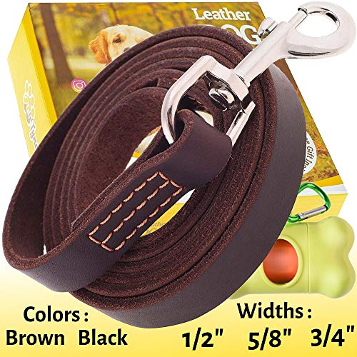 "ADITYNA Leather Dog Leash 6 Foot x 3/4"" - Genuine Leather Leashes for Large or Medium Dog Breeds - Perfect for Walking and Training - (L - 6 ft x 3/4"", Brown)"