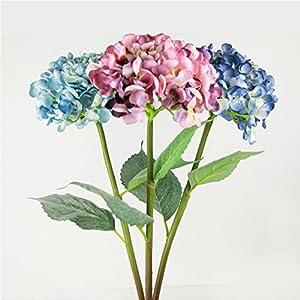 Marlles 3 Big Heads Artificial Hydrangea Silk Fake Flowers Bunch Bouquet Home Hotel Wedding Party Centerpieces Garden Floral Décor 5