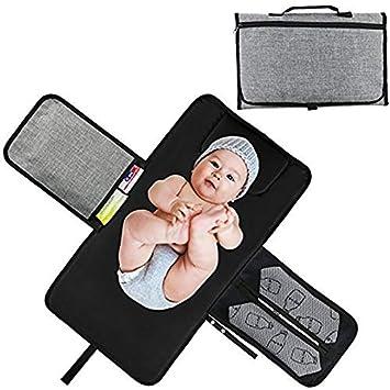 Plegable Cambiador de Pa/ñales con Bolsillos para Beb/és Impermeable Almohadilla del Pa/ñal Kit Cambiador de Viaje Port/átil Bolso para Cochecito Multifuncional Leisial