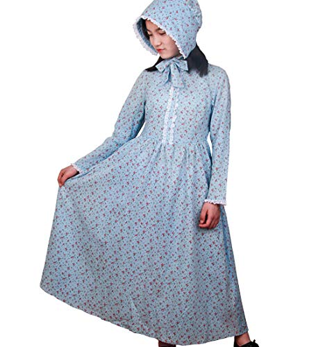 Girls Calico Colonial Pioneer Dresses Child Frontier Prairie Pilgrims Costume with Matching Bonnets 8 Blue ()