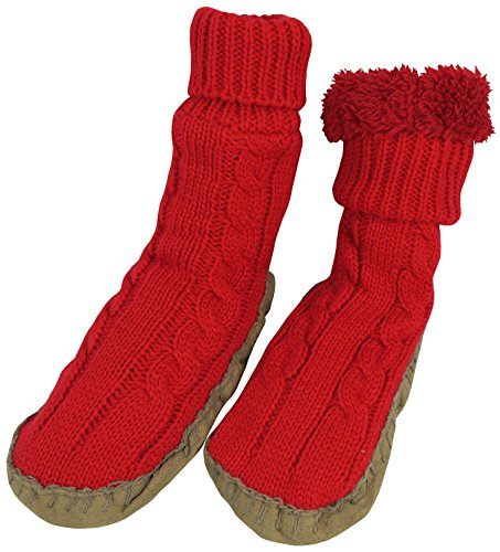 N'Ice Caps Girls Cable Knit Slipper Socks with Non-Skid Gripper Soles (8-12 Years (8.0