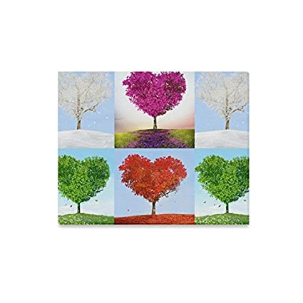 93b4a2f6f0c3 INTERESTPRINT Valentine Love Heart Tree of Love for Four Seasons Canvas  Prints Wall Art Stretched and Framed Abstract Canvas Paintings for Wall and  ...