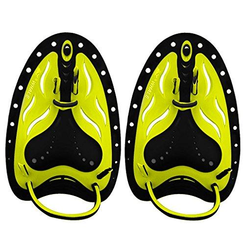 ional Swim Training Paddles Hand Paddles Power Paddles Swimming Training Aid Large Flat Paddles for Men Women Children (Yellow, L) (Mens Paddle)