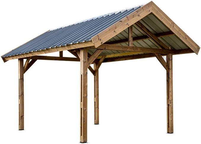 HABRITA toldo thurac (Madera Thermo chauffé tejado (Doble Pendiente 30 ° Protectora Bandeja Acero: Amazon.es: Jardín
