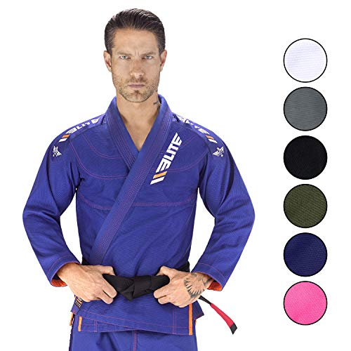 Elite Sports New Item IBJJF Ultra Light BJJ Brazilian Jiu Jitsu Gi w/Preshrunk Fabric & Free Belt (Blue, A4)