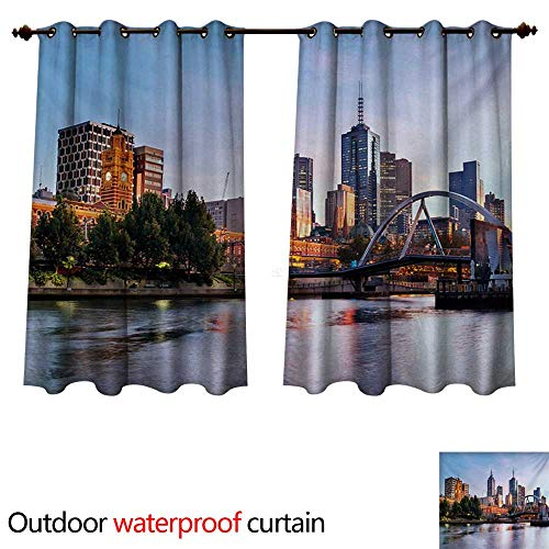 WilliamsDecor City Outdoor Balcony Privacy Curtain Early Morning Scenery in Melbourne Australia Famous Yarra River Scenic W63 x L72(160cm x 183cm)