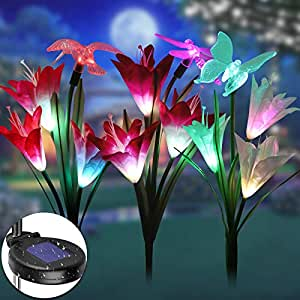 EEEKit Solar Lights Outdoor, Solar Garden Lily Lights, Multi-Color Changing Waterproof Lily Solar Flower Lights Lamp with Butterfly Dragonfly Hummingbird for Patio/Yard/Home Decoration