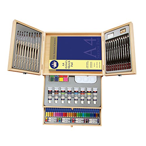 Deluxe Art Set- Painting & Drawing Set 83-Piece, Professional Art Kit for Kids, Teens and Adults/Gift by Lucky Crown Wooden Box Set by LUCKY CROWN