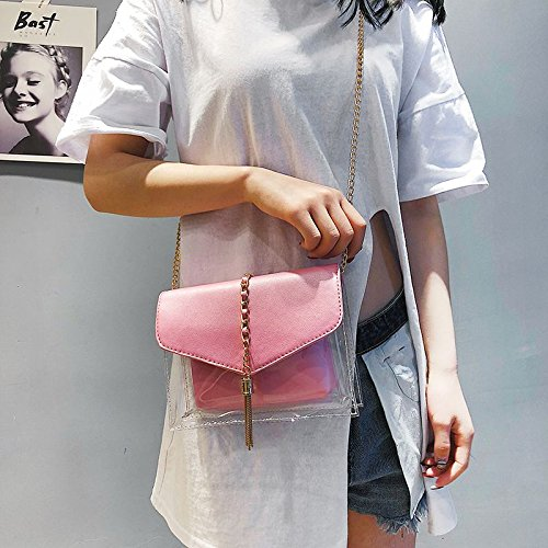 Bolsa Cruzado Moda Plastico Cadena Elegantes Cuerpo Para Jalea Hombro Sodial De Bolsas Transparente Borla La Rosado Mujer Bolso Compuesta TgA0HnWBwq