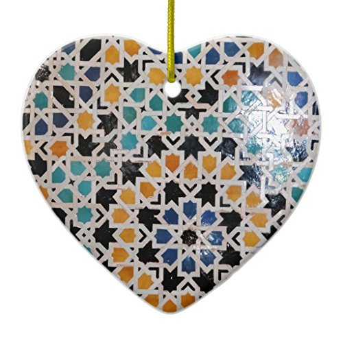 Novelty Christmas Tree Decor Alhambra Wall Tile #9 Ceramic Ornament Heart Christmas Decorations Ornament Crafts