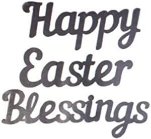 Happy Easter Blessings Metal Words Decor, Cursive Wall Art and Crafts Signs (3 Pieces)
