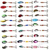 30pcs Spinner Bait Fishing Lures Life-Like Bass Crankbait for Pikes/Trout /Walleye/Redfish Tackle with Strong Treble Hooks
