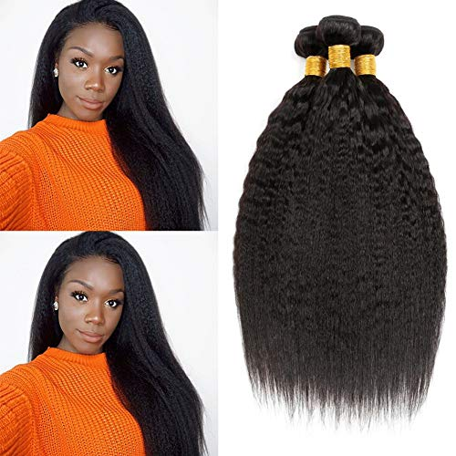 CLAROLAIR Kinky Straight Brazilian Hair Weave Bundle Coarse Yaki Human Hair Bundles Yaki Straight Hair Extensions Non Remy Hair Natural Black Color 95g±5g/Bundle 14 16 18 from CLAROLAIR