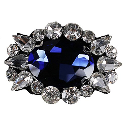 - 5pieces Beaded Diamond Fabric Patches Crystal Applique Badges Scrapbooking Patches for Brooches Clothes Decorated Sewing TH801a (Navy with white)