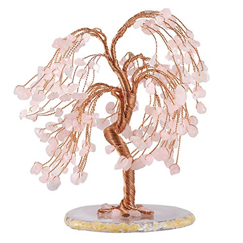Top Plaza Rose Quartz Healing Crystals Copper Money Tree Wrapped On Natural Agate Slices Geode Base Lucky Reiki Feng Shui Figurine Statue