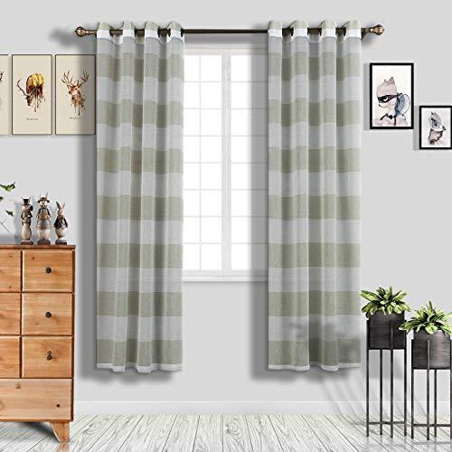 Efavormart 2 Panels White/Sage Green Faux Linen Woven Sheer Window Drapery Stripe Window Treatment Grommet Curtain Panel 52