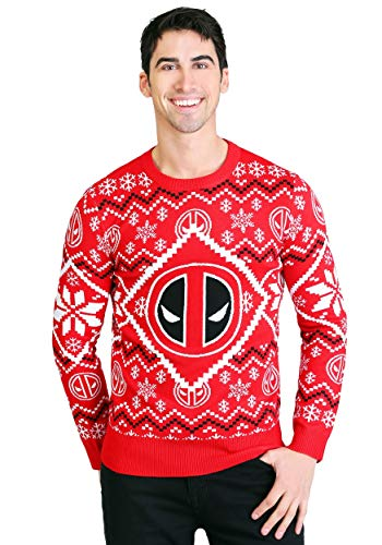 Deadpool Intarsia Logo Adult Knit Ugly Christmas Sweater 3X Red