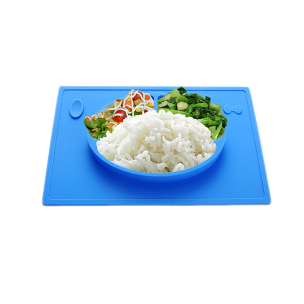 LLZJ Babies Silicone Suction Bowl Suction Stay Put Separate Placemat Antidérapant Anti-Fall Toddler Feeding Training Tableware Dishes Children's Cutlery,Blue
