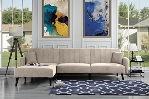 Amazon Com Upholstered Mid Century Linen Fabric Futon