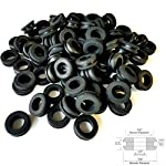 "Lot of 50 Rubber Grommets 1/2"" Inch Inside Diameter - Fits 3/4"" Panel Holes. 11/32 in Thickness"