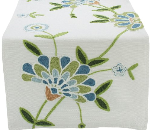 Manor Luxe Crewel Embroidered Floral Table Runner, 16 by 36-Inch, Blue