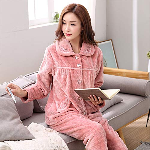 Women's Service Long 57kg Pajamas Pajamasx Size Thicken 65 164cm And Winter Warm Fleece Suit Coral Cardigan L158 sleeved Xxl164 Autumn 47 172cm Large Home 75kg 54Sx0