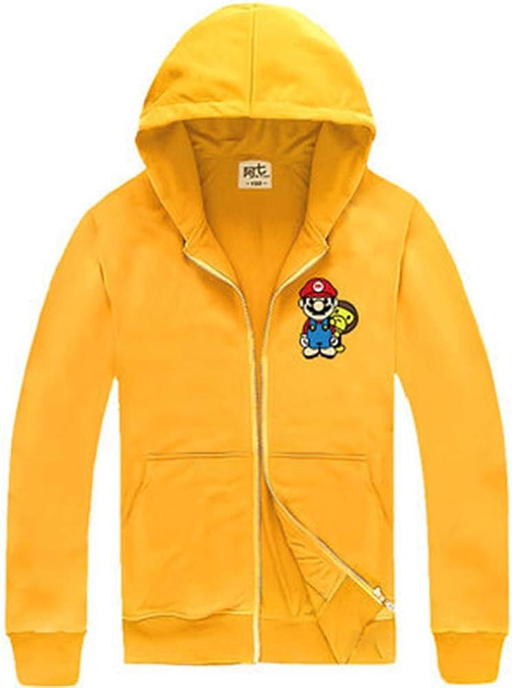 GEIUEIMAN Super Mario Bambini Adolescenti Primavera e Autunno e Inverno Felpe con Cappuccio Cappotto Felpa con Pile Pullover con Cappuccio Cappotto