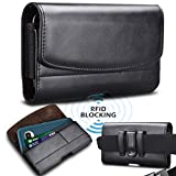 Takfox Phone Holster, Premium Leather with Belt Clip and Loops RFID Blocking Card Holder for iPhone XR XS X 8 7, Samsung Galaxy S8 S9 S10 S10e J7 J3 LG G8 Moto G7 (Fits Phone with Case on)-Black