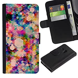 All Phone Most Case / Oferta Especial Cáscara Funda de cuero Monedero Cubierta de proteccion Caso / Wallet Case for Samsung Galaxy S3 MINI 8190 // Polygon Vibrant Colorful Pattern