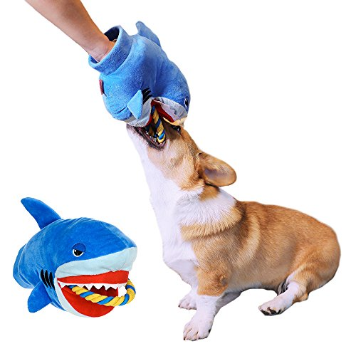 MUYAOPET Interactive Dog Squeaky Toy For Golden Retriever Large Dog Chew Toy (11 inch, Shark)