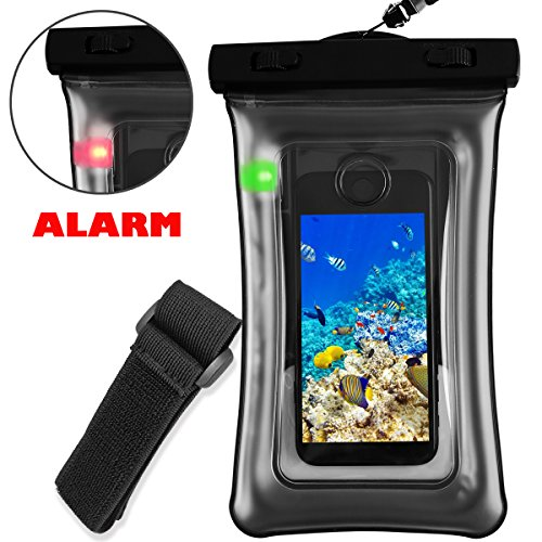 Monojoy Waterproof Case with Leakage Led Alarm Floating Dry Bag Cell Phone Pouch Armband Lanyard for iPhone 7,6 6S Plus,SE 5S,Samsung Up to 6.0