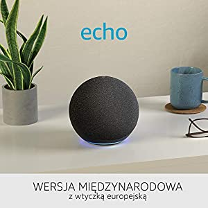 Nowe Echo 4. generacji | Doskonały dźwięk, z Alexą i centralą inteligentnego domu | Wersja międzynarodowa | Język polski nie jest obsługiwany | Kolor Grafitowy