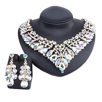 Women Bridal Rhinestone Crystal V-Shaped Teardrop Wedding Necklace Earring Jewelry Sets for Brides Formal Dress