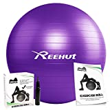 REEHUT Anti-Burst Core Exercise Ball w/Pump & Manual for Yoga, Workout, Fitness (Purple, 65cm)