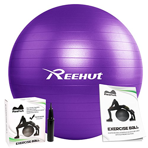Eco Yoga Kit (REEHUT Anti-Burst Core Exercise Ball w/Pump & Manual for Yoga, Workout, Fitness (Purple, 65cm))