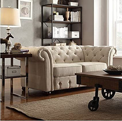 Tribecca Home Knightsbridge Beige Linen Tufted Scroll Arm Chesterfield Settee Loveseat Small Sofa